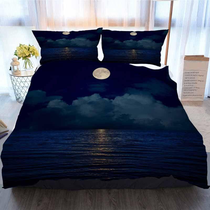Ropa de cama nubes Conjunto 3 piezas funda nórdica, llenos Luna sobre las nubes y el agua con reflejos oscuros, suave funda nórdica Manta Casa de lujo