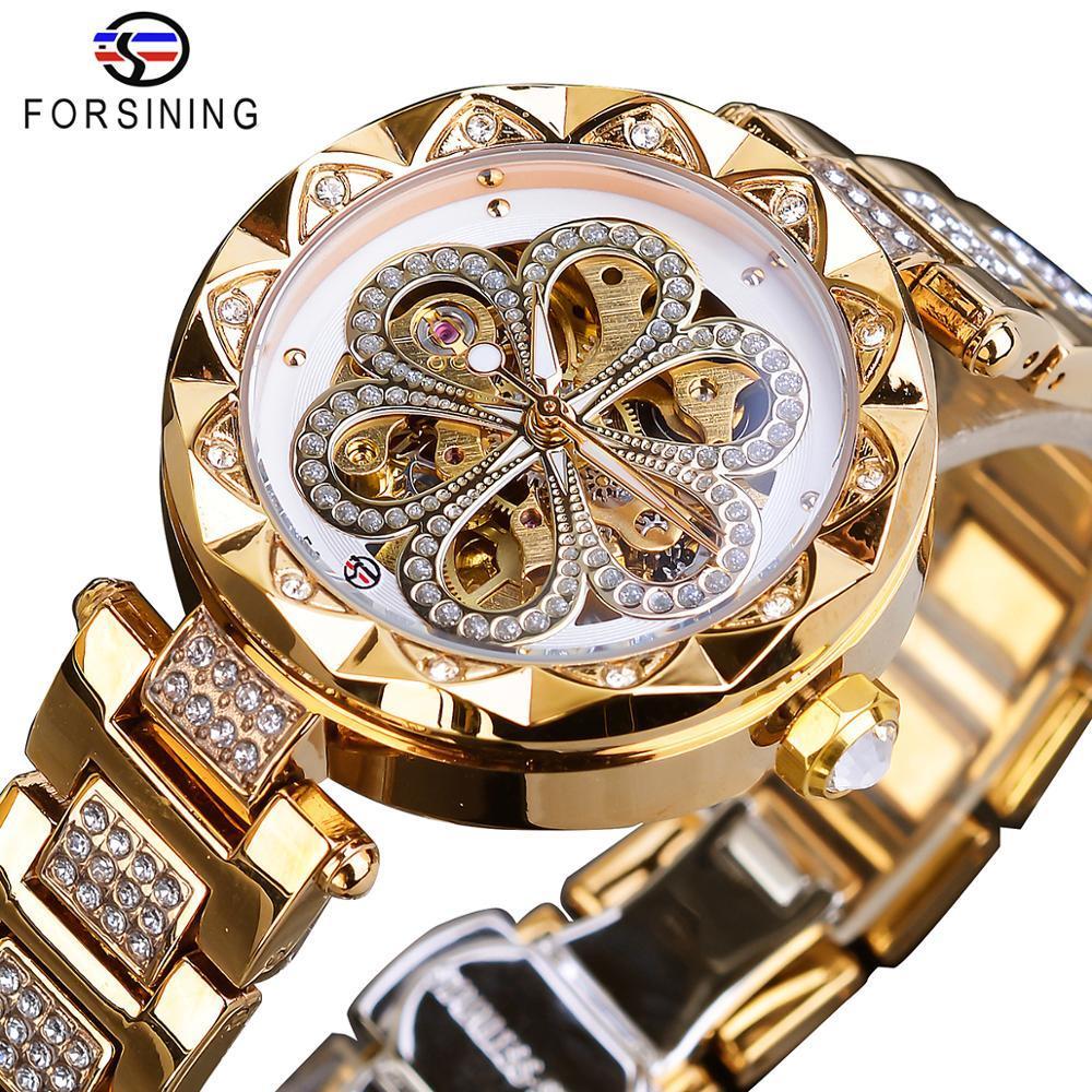 Forsining المرأة الميكانيكية ووتش أعلى العلامة التجارية الفاخرة الماس الإناث الساعات التلقائي الذهب الفولاذ المقاوم للصدأ السيدات ماء ساعة