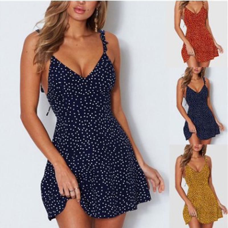 Frauen Kleider Sommer 2020 Sexy Kleid-Dame-hohe Taillen-Punkt-Drucken-Kleider Vestidos Rückenschnürung Straps rückenfreies Kleid A1107