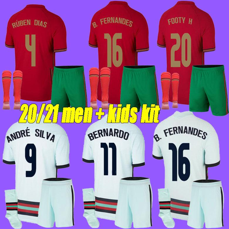 Erkekler + Çocuk Kiti 2021 Rúben Dias Silva Futbol Forması Ulusal Takımı Joao Felix 2021 Bernardo B.Fernandes Camisa de Futebol Futbol Gömlek