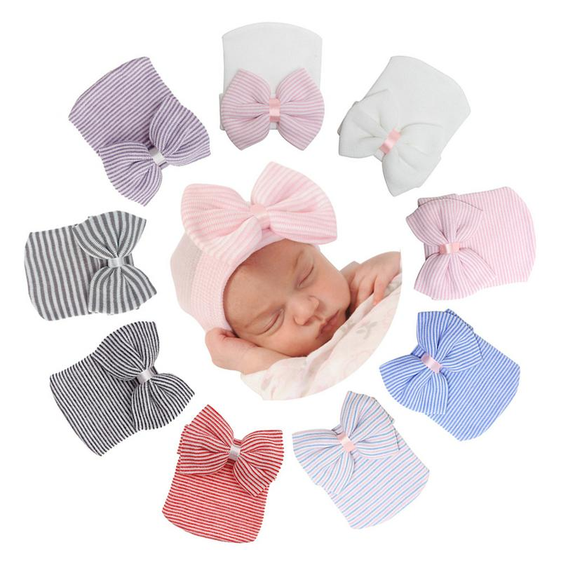 2021 Baby cap big bow knit headset cap spring and autumn lovely fetal cap Knitted hat butterfly hat