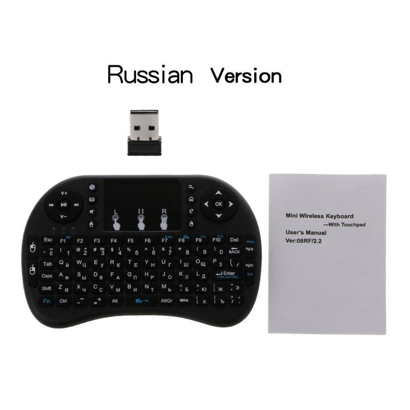 Russo I8 2.4GHz Wireless Keyboard Air Mouse Touchpad para Android TV PC