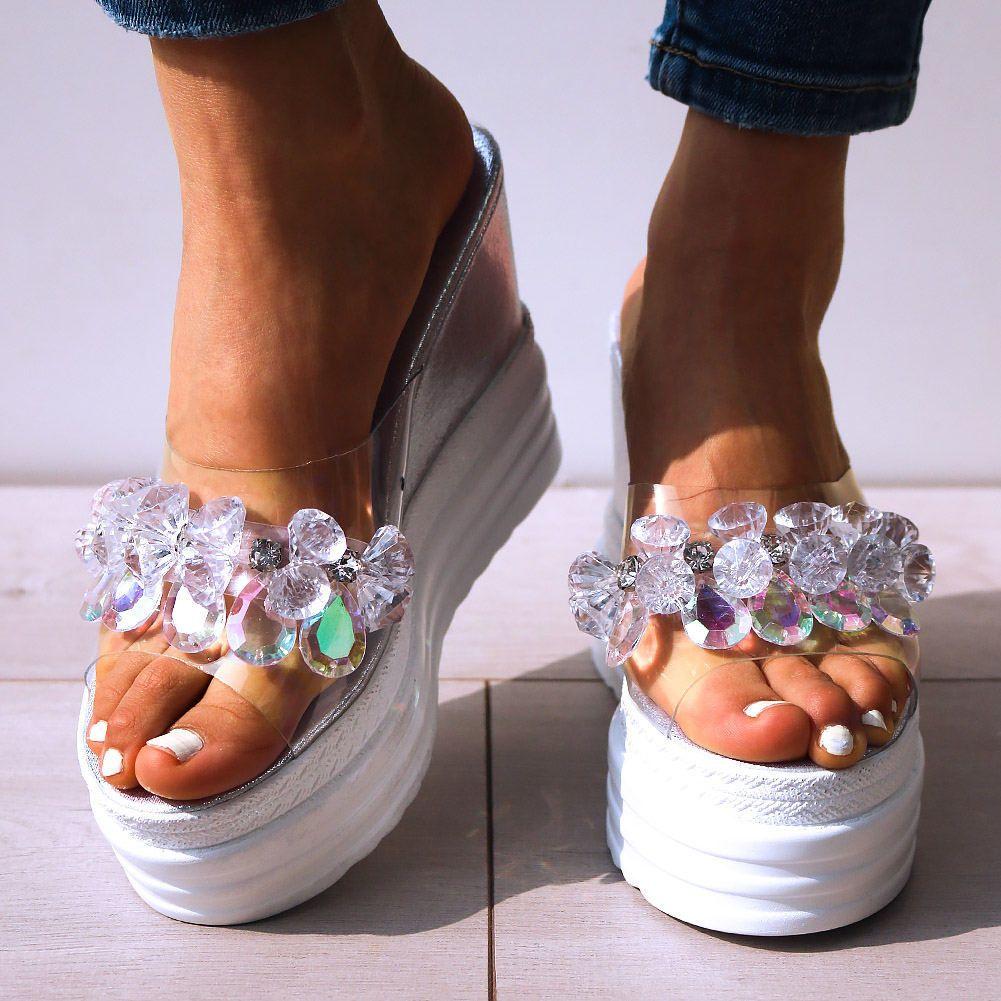 Doratasia più nuovi cristalli INS caldo del PVC estate sandalo piattaforma alti talloni delle donne di svago incunea Mules pantofole X1020