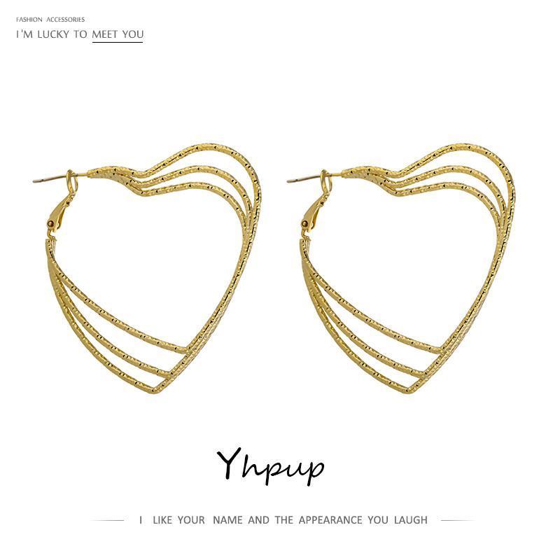Yhpup Romantik Kalp Hollow Hoop Küpeler Minimalist Bakır Altın Katmanlı Küpe İçin Kadınlar Partisi Takı Aksesuar Hediye