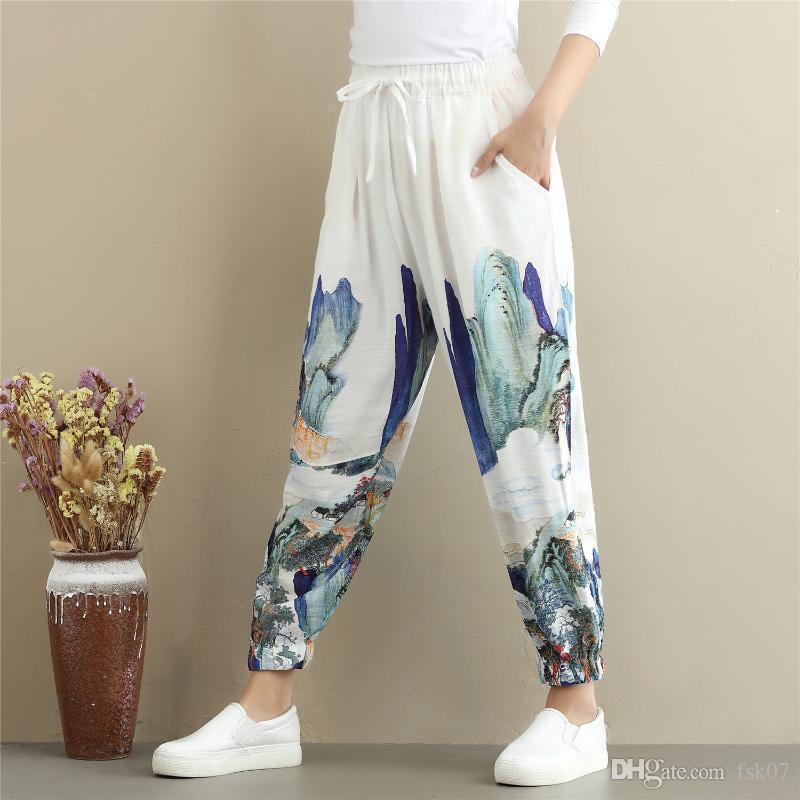 Kadınlar Yoga Pantolon Keten Çince Geleneksel Baskılı Gevşek Sweatpants ben sonsuza Casual koşucu Running Egzersiz Atletik Pantolon Trosuers