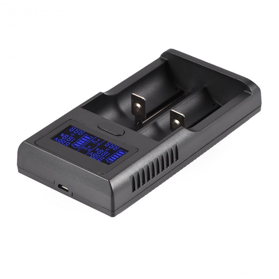 Smart Battery Charger Digital display LCD de 2 Slots para Lithium 18650 18500 18350 17670 16340 14500 26650 3.7V Universal