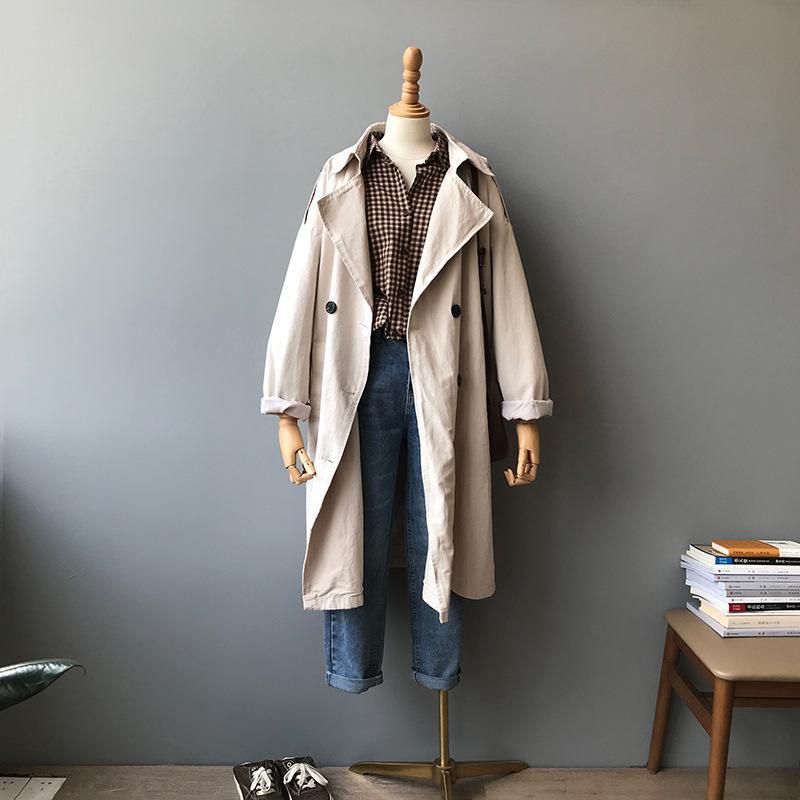 Coats 2020 Frühling und Herbst Langer Einreiher dünner Graben Korea Mantel Windjacke Frauen