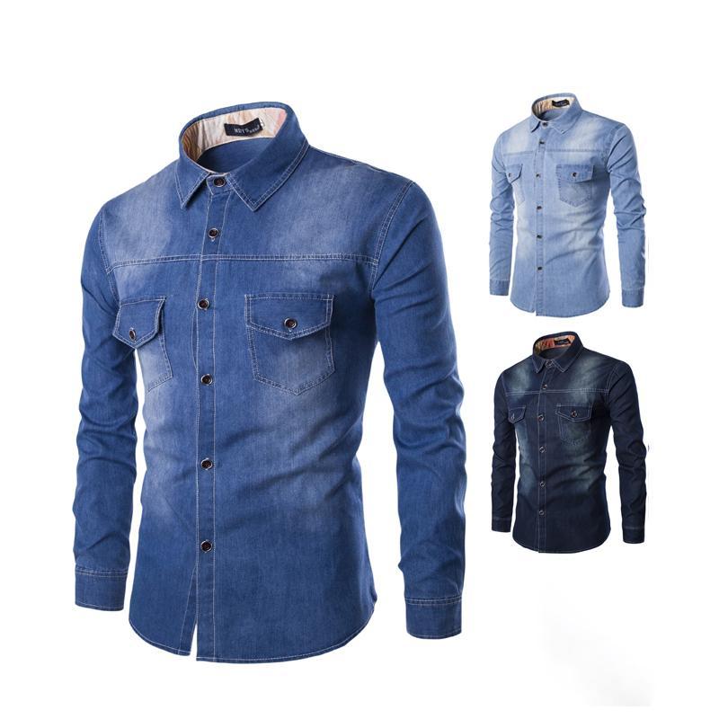 Camisa de mezclilla con Poket causal Moda Jeans Menores Menores Tops Tops de manga larga 100% algodón Camisas Casuales