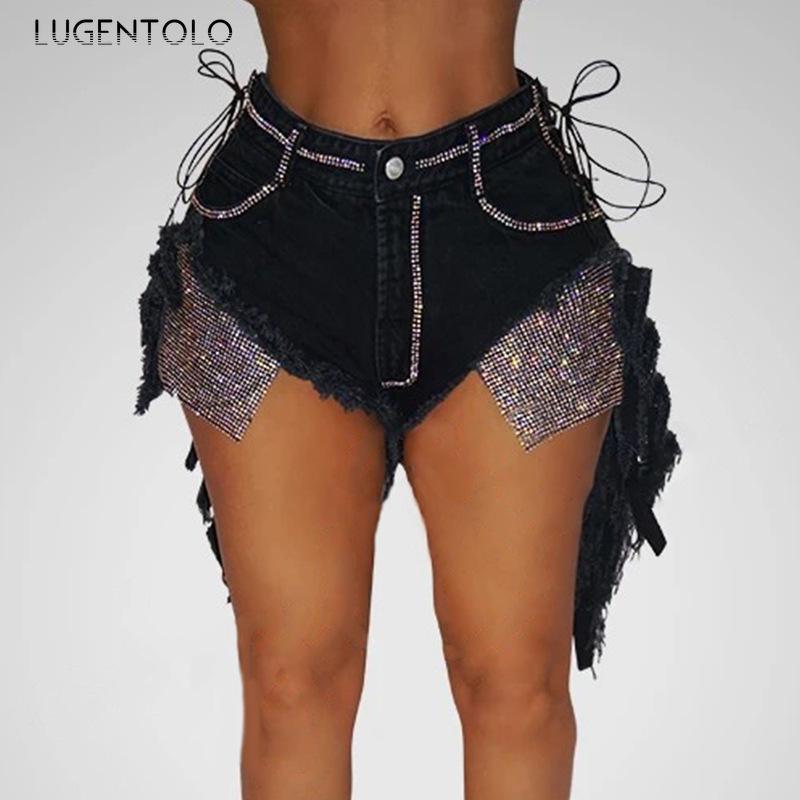 Lugentolo Short Femme Jeans d'été sexy Boîte de nuit Mode Bandage Jeans Denim Noir Casual droite Patchwork Femmes