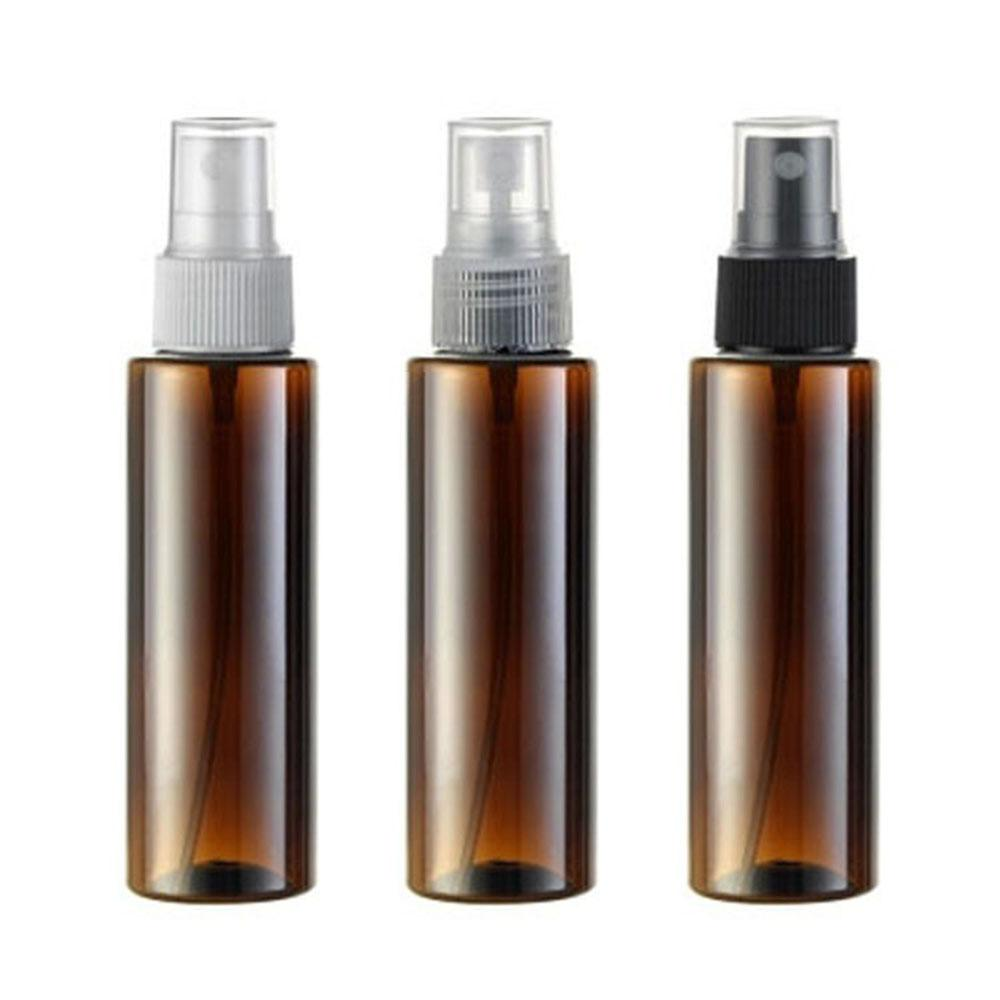 100ml X 50 brown cylinder spray pump perfume plastic PET bottle for cosmetics , floral water bottles containers sprayer 50pcs/l