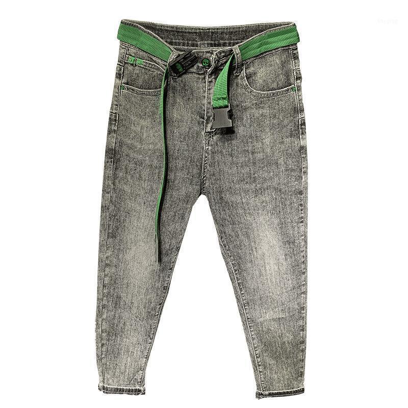 Pantalones vaqueros para hombres Moda 2021 Adolescentes Gris Slim-Fit Denim Pantalones de mezclilla con pies pequeños Papá casual para hombre All-Match Toble Longitud Pantalones1