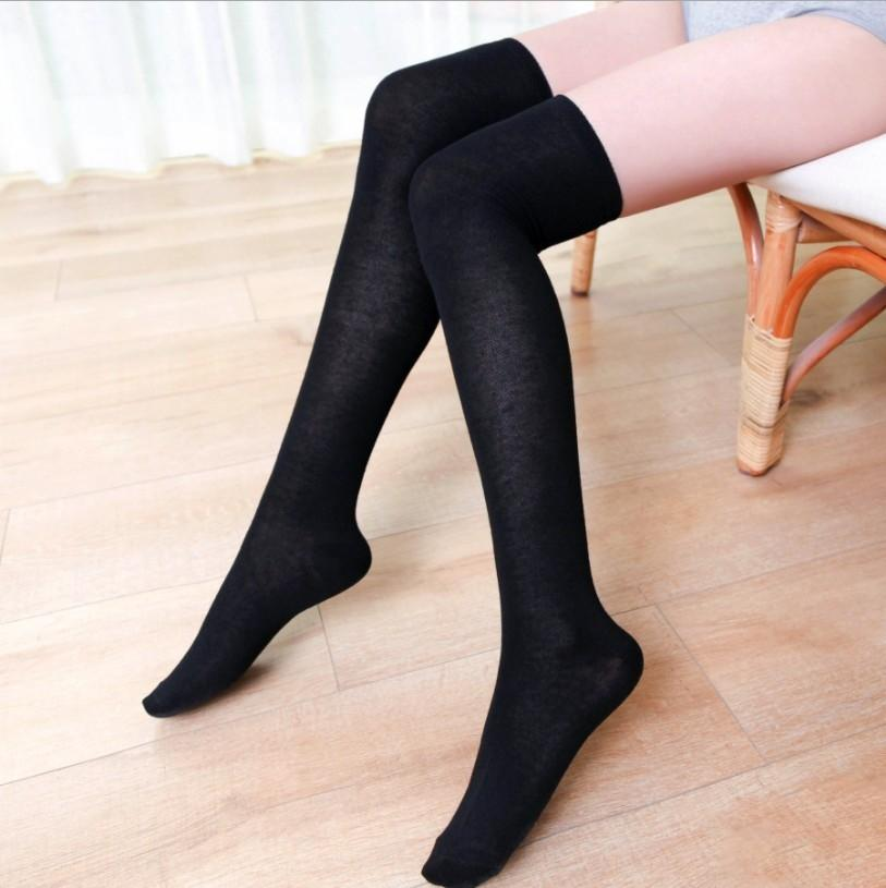 5zb4h style cotton thick black style white striped stockingsthree barsknee high socksstudent socks stockings stockings and cotton thick black