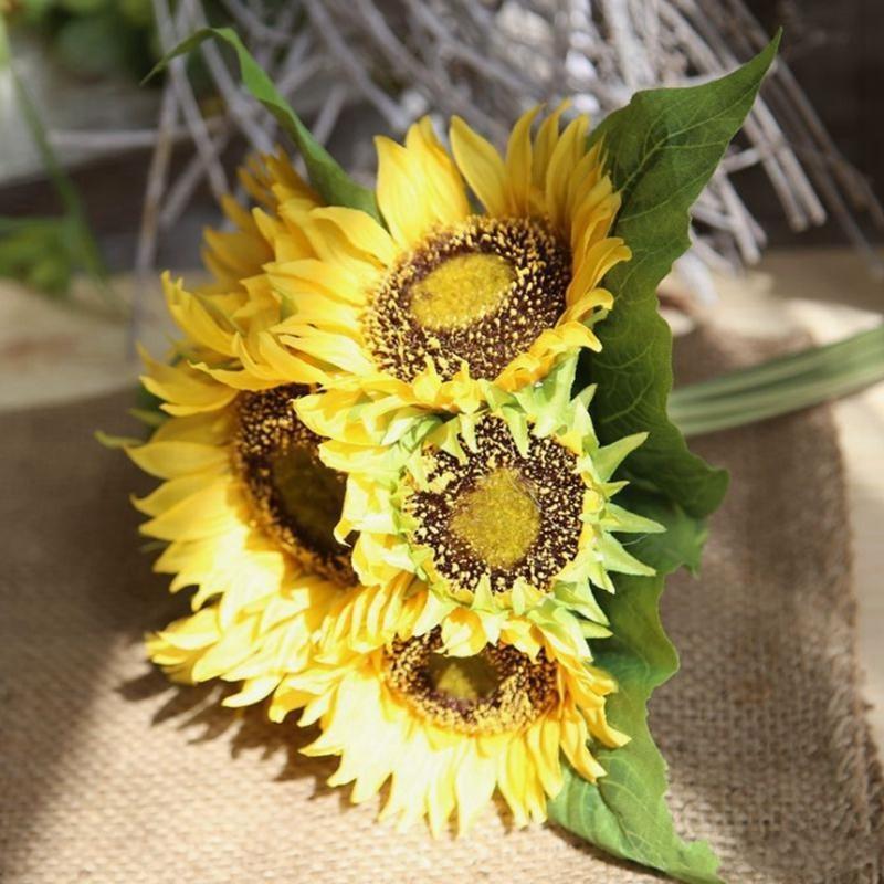 """Girasol amarillo 62 cm / 24.41 """"Flores de seda artificial simulación Sunglater Sunflower para fotografía de boda Precios Flower Decoraciones de Navidad"""