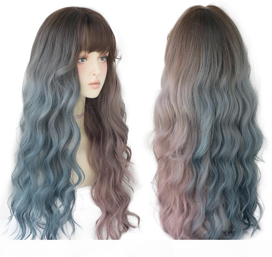 Vague profonde cheveux longs omber bleu rouge rouges perruques noires pour femmes colorés résistant à la chaleur cheveux lolita perruques avec franges en gros