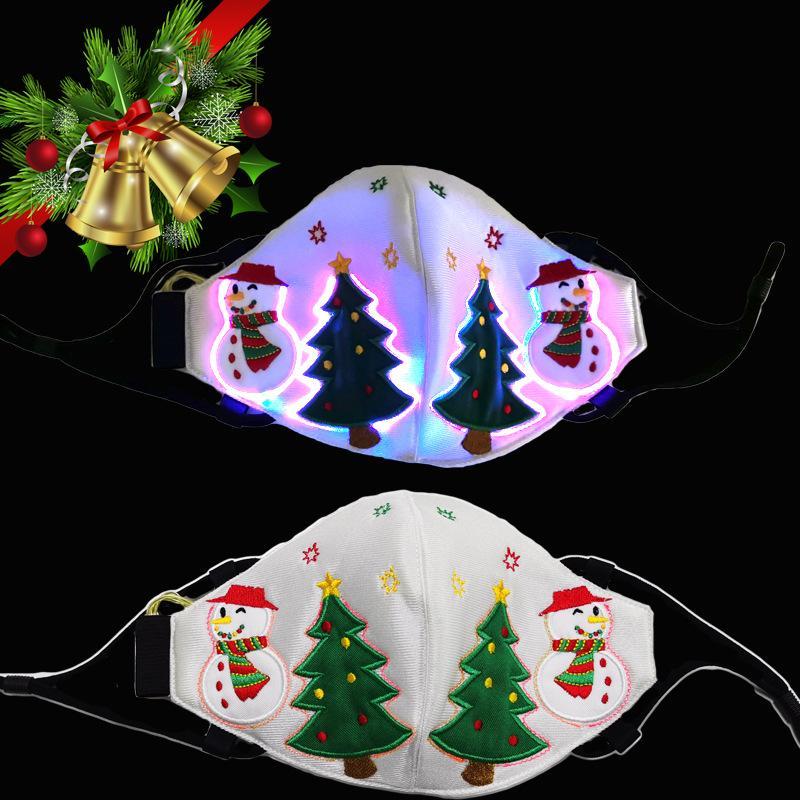 Noel Partisi Festivali Masquerade Rave Maske için PM2.5 Filtre 7 Renk Parlak LED Yüz Maskeleri ile Moda Parlayan Maskesi