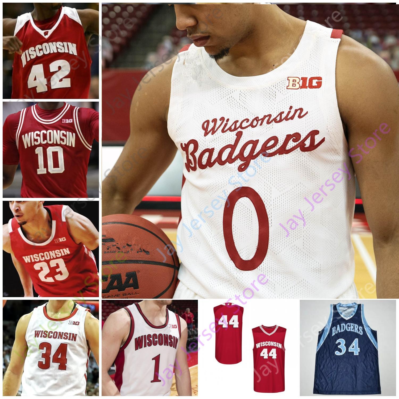Wisconsin Badgers Basketbol Jersey NCAA Koleji Nate Reuvers Brad Davison Tyler Wahl Ben Carlson Jonathan Davis Lorne Bowman II Crowl King