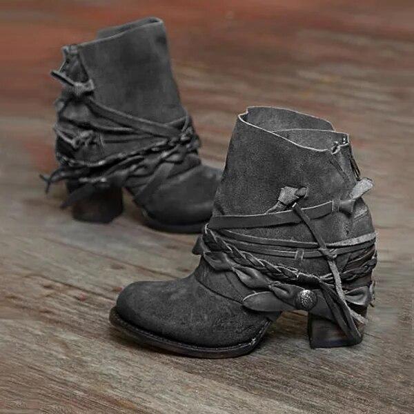 Bayan Moda Sonbahar ve Kış Bandaj Yuvarlak Burun Ayakkabı Kalın Topuk Açık Yüksek topuk Boot Ayakkabı Damla Nakliye Toptan