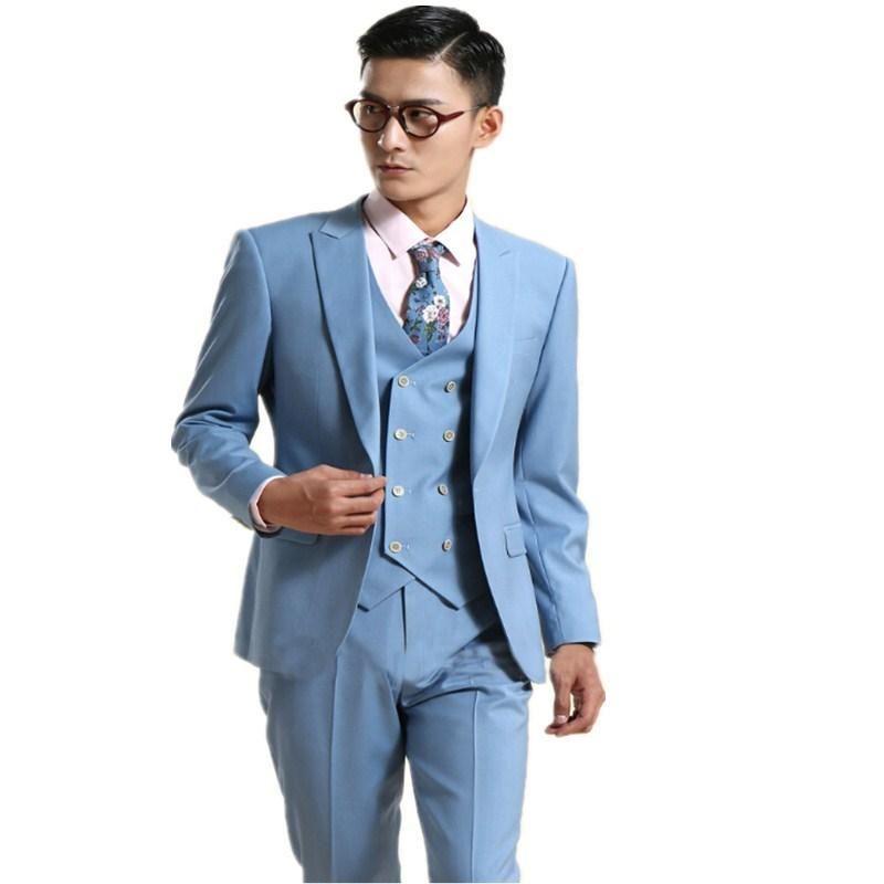 Custom Made Fashion sky Blue Groom Tuxedos Wedding suits for men latest coat pant designs Groomsman Suit(Jacket+Pants+Vest) A127