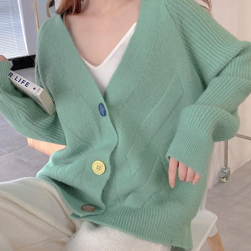 Женские вязаные тройники женские цветные кнопки свитер плюшевый кардиган сплошной осенью и зимняя мода повседневная корейский простой