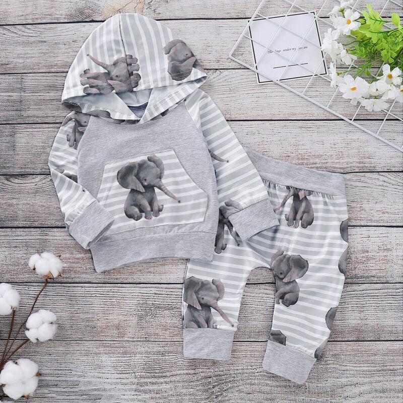 Pudcoco 2 adet Yenidoğan Bebek Kız Erkek Kapşonlu Fil Çizgili Pantolon Eşofman Pantolon Kıyafetler Giyim Setleri 1021