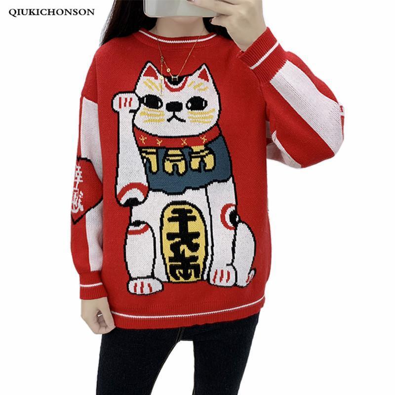 Kawaii Chino Buen Lucky Cat Suéter Mujer Otoño Invierno Fortuna Cat Maneki Neko Punto de Punto Suéteres Jersey Red Jersey Señoras