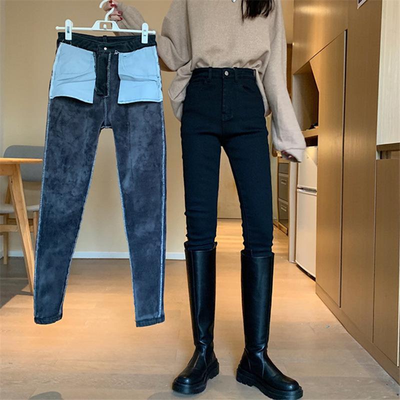 2020 moda versátil temperamento outono inverno jeans cintura alta mulheres mostra pés finos e apertados novos estilo pelúcia calça para outerh7