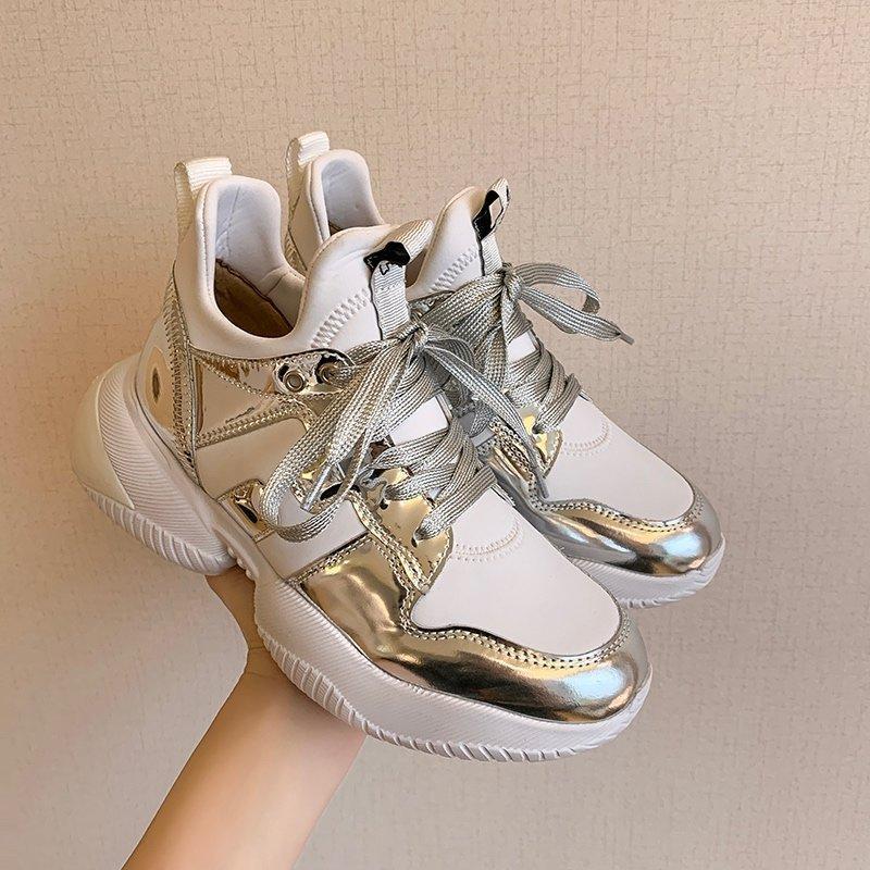 stations européennes nettement plus petit pied rouge net papa chaussures femmes marée 2020 nouvelles chaussures de sport à fond de lourds-le-feu ultra-ins ont augmenté de 6