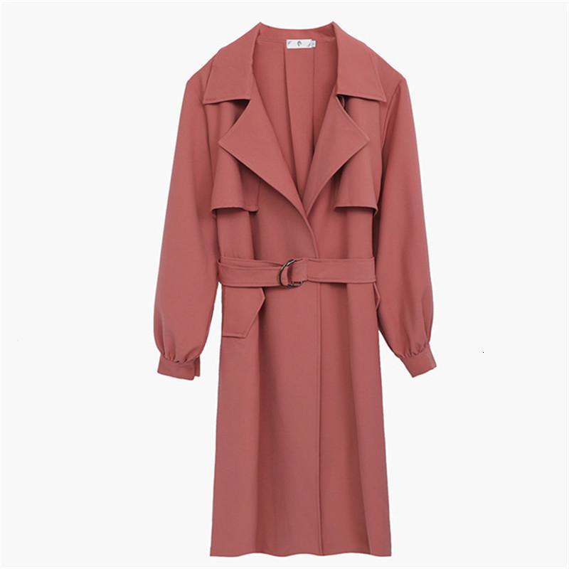 Gran tamaño mujeres otoño moda largo clásico cinturón de alta calidad abrigo de zanjas casual ropa exterior A860