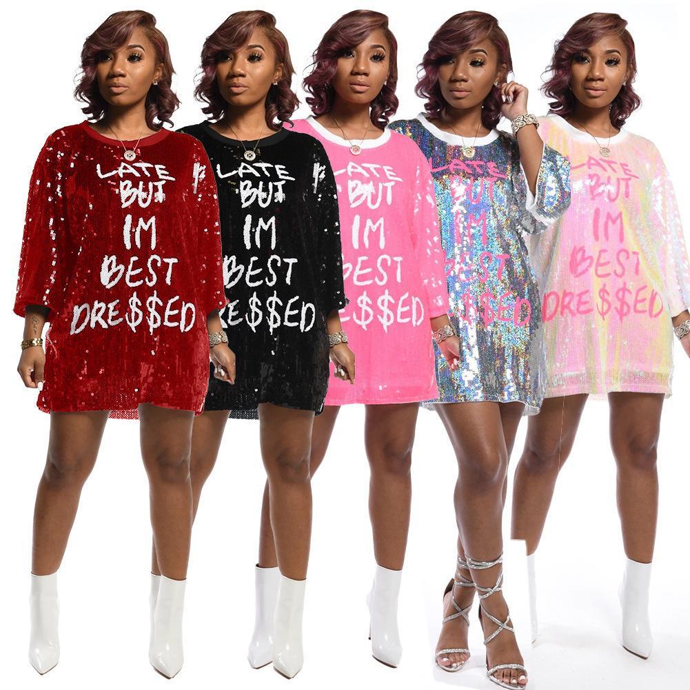 가을 여성 의류 패션 편지 인쇄 긴 소매 스팽글 탑 레이디스 캐주얼 라운드 넥 느슨한 티셔츠 옷 2020