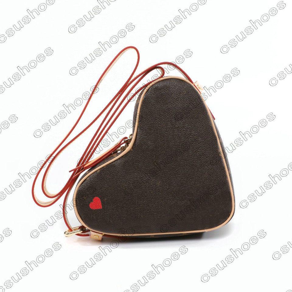 coeur 미니 desinger 붉은 마음 m57456 핸드백 luxurys 디자이너 빈티지 가방 메신저 어깨 크로스 바디 가방 가죽 totes