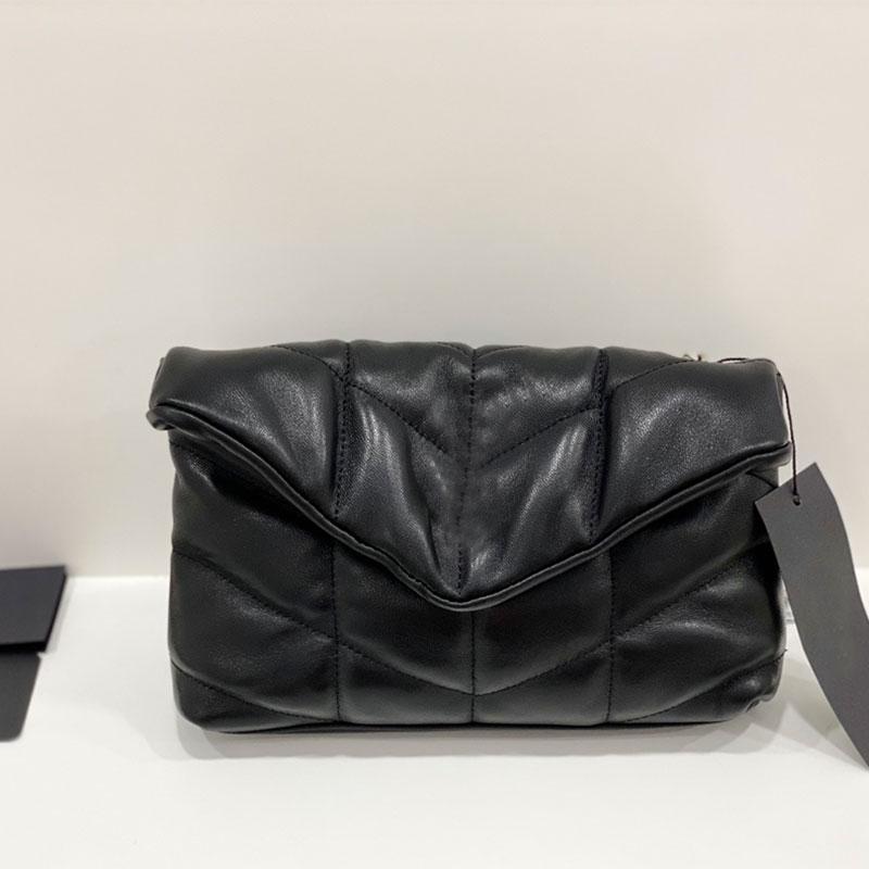 Echter Scheckpaket Handtasche schräg Dame Wolke gesteppt Big Schulter Ledertasche Tasche Brieftasche schwarze Kette Qavoc Iltik