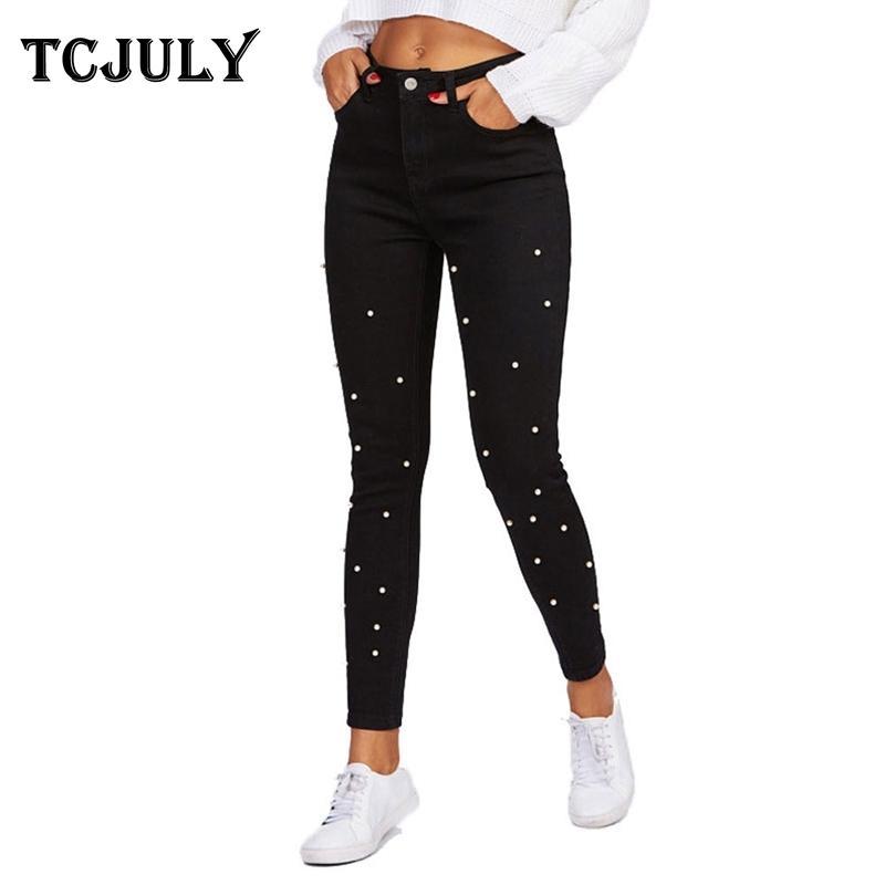 Tcjuly outono inverno novo jeans pérola para mulheres magro push up magro lápis preto calças streetwear estiramento casual jeans y200417
