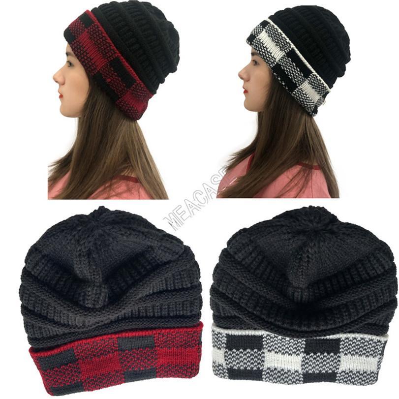 Adults Knit Hats Woolen Winter Beanies New Designer Plaid Cuff Patchwork Crochet Hat Brand Grids Matching Knitted Knitting Skull Cap D102709