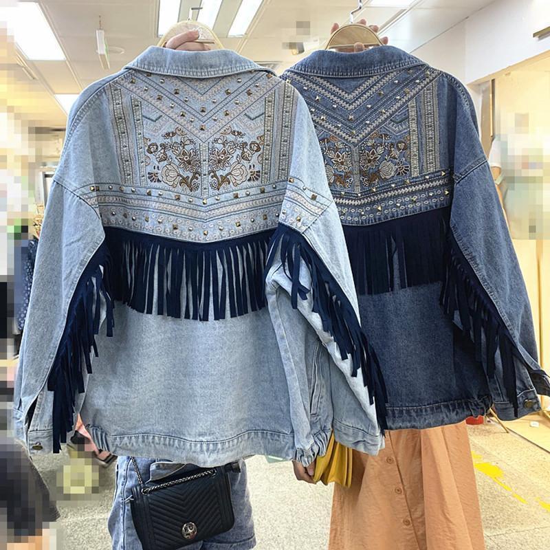 Женские Куртки 2021 Осень Осень тяжелая промышленность Вышивка Джинсовая Куртка Женский Свободные1