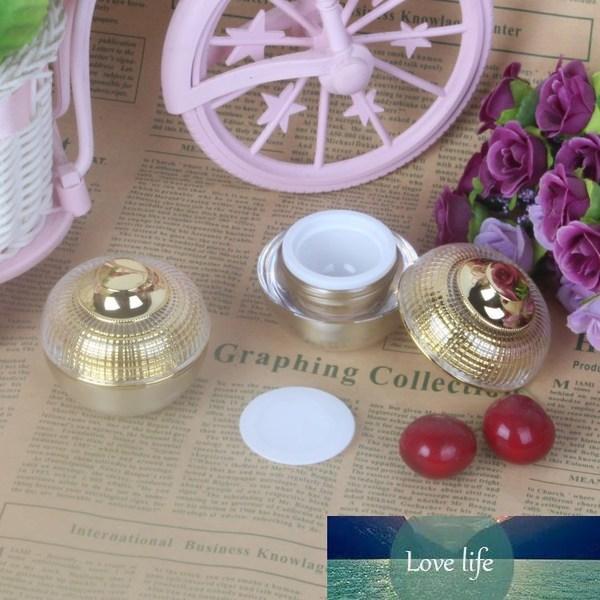 10 adet 5/10 / 15 ml Altın Akrilik Yuvarlak Küresel Kavanoz, Kozmetik Krem Örnek Ambalaj Kutusu, Losyonlar Puan Krem Kavanoz Kozmetik Konteyner.