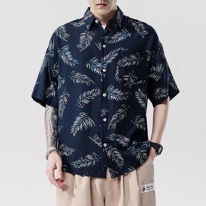 2021 Brand NEUE 2021BEACH Sommerdruck Blume Kurze Ärmel Hawaii Kragen Korea Stil Hemd für Herren Harajuku Kleidung KV92