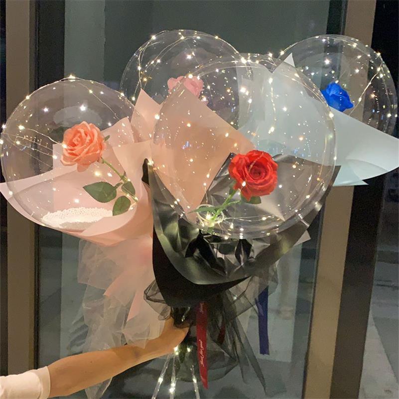 Luzi luminoso balão rosa buquê transparente bolha encantada rosa com vara bobo bola dia dos namorados presente de casamento decoração de festa e121801