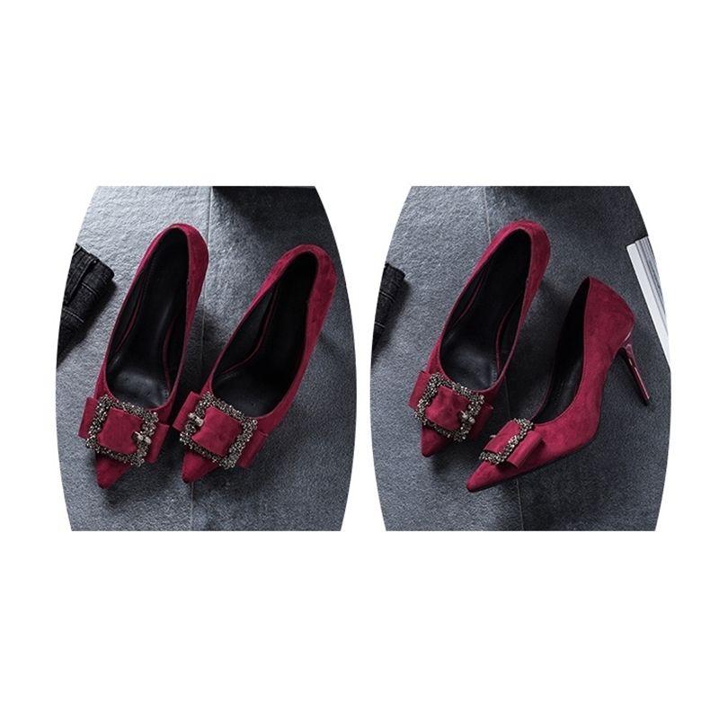 Nuovo arrivo di buona qualità scarpe da sposa sottili tacchi alti appuntiti scarpe casual a punta colore rosso LJ200924