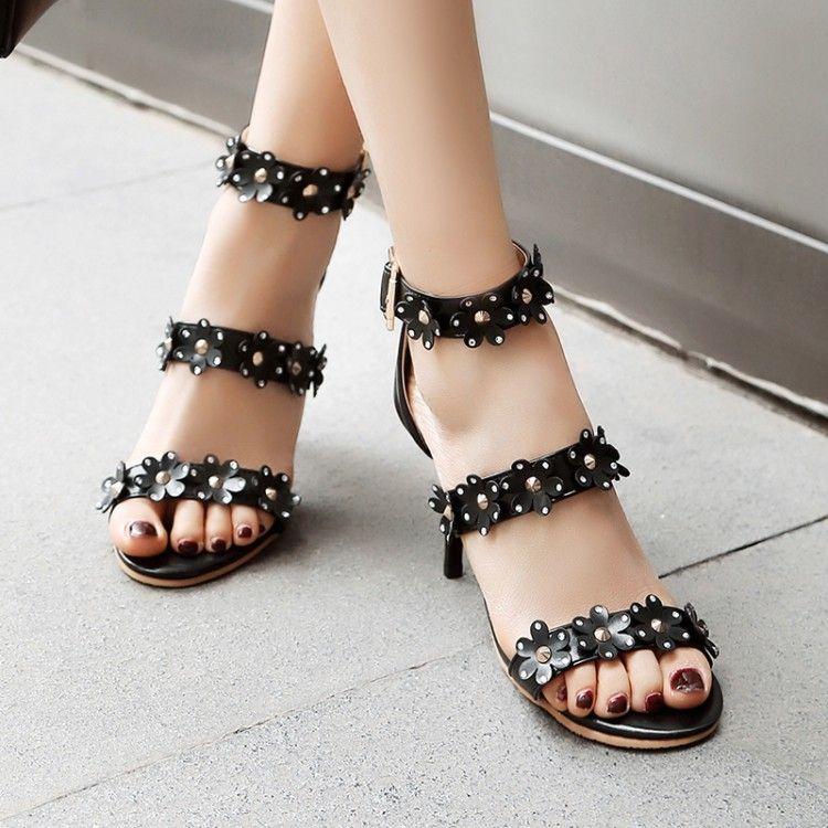 Gran tamaño de las señoras 11 12 13 14 15 16 17 Mujer de tacones altos de las sandalias de las mujeres zapatos de verano hebilla del cinturón sandalias abiertas