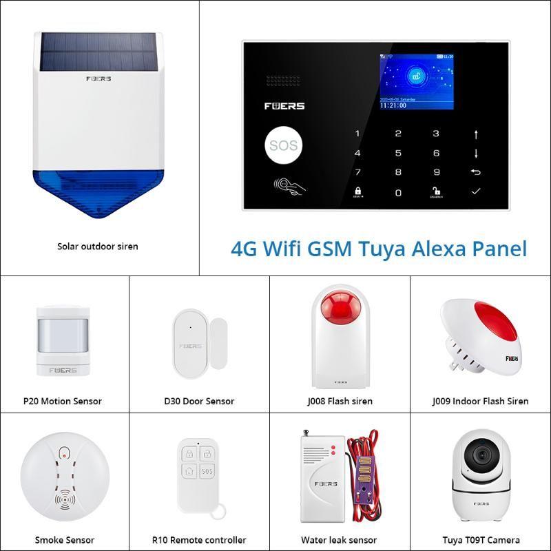 FUERS WIFI 4G Sistema de alarme Wireless Home assaltante Segurança sistema de segurança Tuya APP Controle Siren detector de movimento PIR Fumaça Sensor