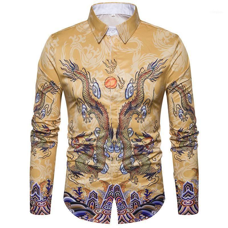 Мужские рубашки Dragon Pattern Fashion Hip-хоп с длинным рукавом мужские платья рубашки повседневные блузка MEN1