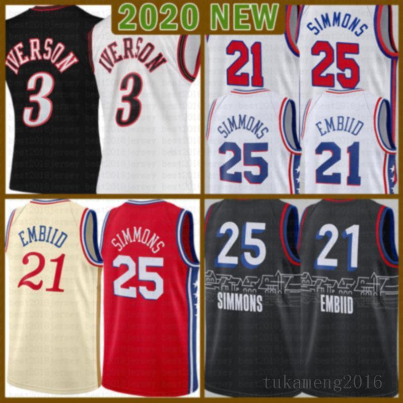 2021 Novo Joel 21 Embiid Jersey Ben 25 Simmons Mens Allen 3 Iverson Mesh Julius 6 Erving Retro Barato Multi