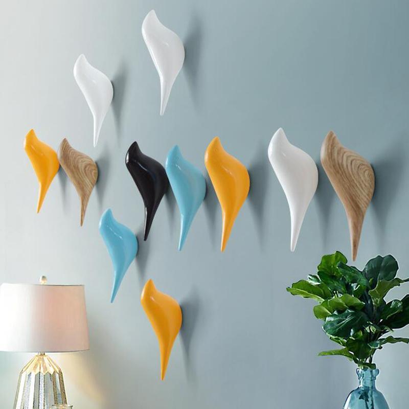 Mantel Vogel Form Kreative Mantel Home Getreide Harz Aufhänger Aufbewahrung Hut Rack Schlafzimmer Wand nach Haken Dekoration Holz 3D Türhalter PkHCV