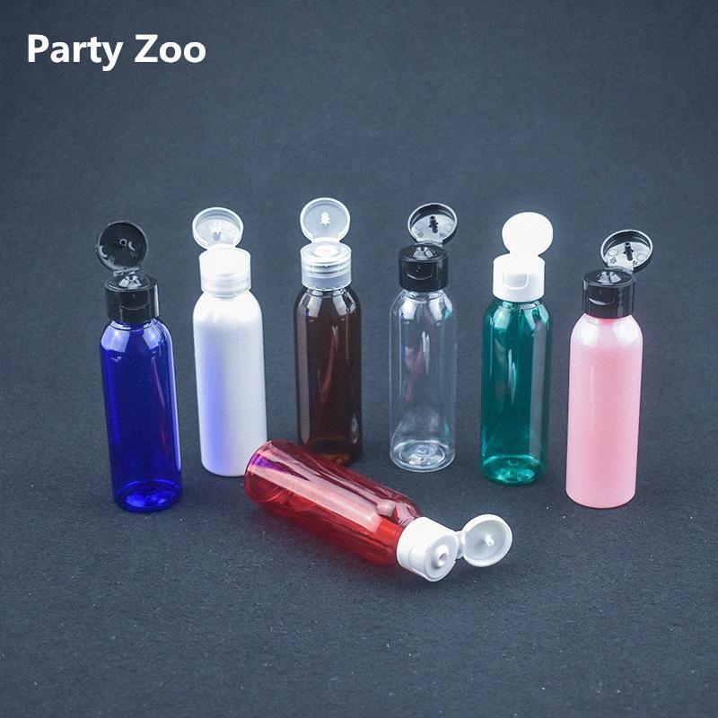 200 X 60ML di plastica PET trasparente bottiglia vuota Bottiglie di viaggio liquido lozione Dispenser Campione Bianco / Trasparente / vibrazione del nero Cap 5Y6d #