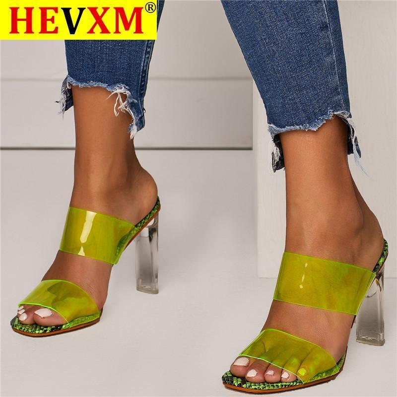 2021 Estate nuovi sandali in PVC Sandali in cristallo Open Toed Sexy Tacchi Sexy Donne di cristallo Sandali tacco tacco trasparente Pantofole Pensioni Donne Scarpe da donna