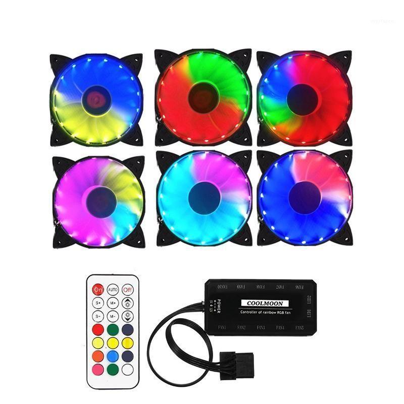 FANS Coolings Coolmoon Coffret Coffret PC Ventilateur de refroidissement PC RGB Ajustez LED 120mm Calme + Remote IR pour CPU (6pcs) 1