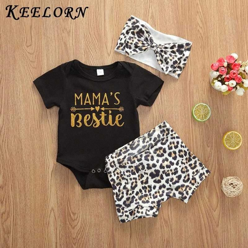 Keelorn Mode-Säuglingsbaby-Sommer-Outfits Kleidung Sets 2pcs Leopard-Druck-T-Shirt-Oberteil mit Shorts Outfit New Boy Kleidung 2fXE #