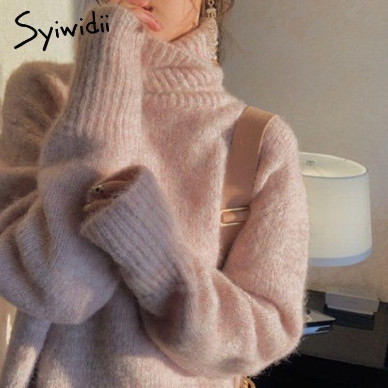 syiwidii mujeres jersey de cuello alto de la moda coreano con capucha Batwing manga más tamaño de la ropa de invierno de punto suéter de las mujeres 201016