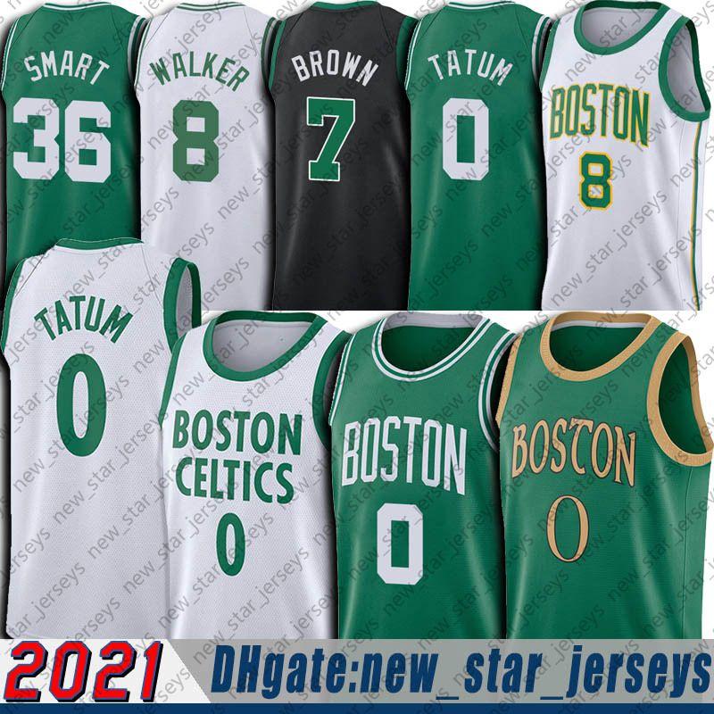 Jayson 0 Tatum Jersey Jaylen 7 Kahverengi Formalar Kemba 8 Walker Jersey Marcus 36 Akıllı Formalar 2021 Şehir Basketbol Üniforma Retro
