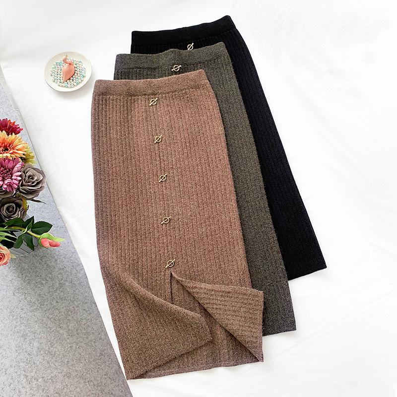 2020 осенью и зимний кролик мех длиной юбка новая металлическая пряжка вязаная зимняя юбка сплит юбки женские q0119